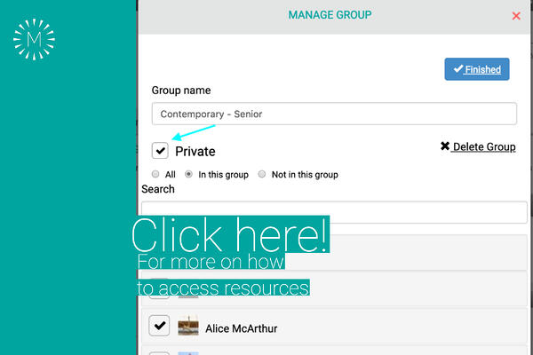Click here - how to make groups private